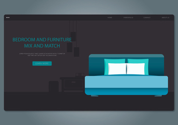 Blue Headboard Bedroom and Furniture Web Interface - vector #443247 gratis