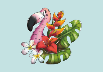 Cute Flamingo Smiling With Tropical Leaves And Exotic Flowers - vector gratuit #443257