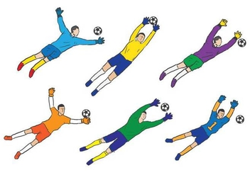 Goal keeper sketch vector set - Free vector #443267