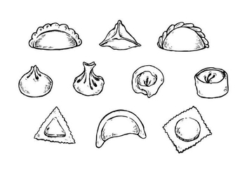 Free Dumplings Hand Drawn Collection Vector - Free vector #443317