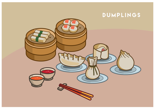 Free Dumplings Vector Illustration - vector gratuit #443477