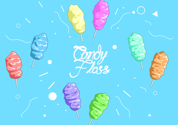 Rainbow Candy Floss Free Vector - Free vector #443557