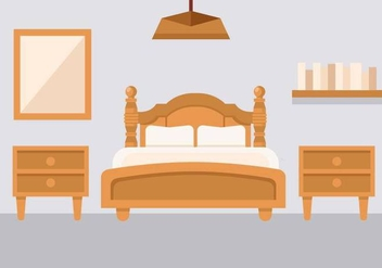 Free Bedroom With Bedside Console Vector - Kostenloses vector #443597