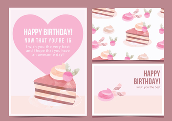 Vector Birthday Cake Card - vector gratuit #443637