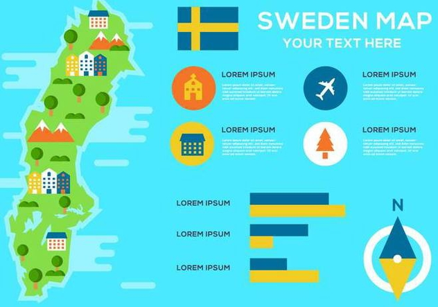 Free Sweden Map Infographic Vector - Free vector #443677