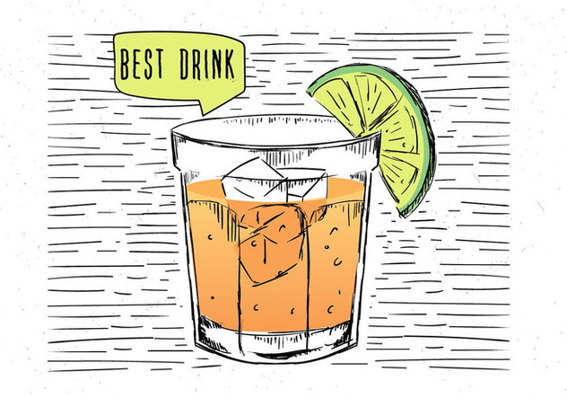 Free Hand Drawn Vector Cocktail Illustration - Free vector #443847