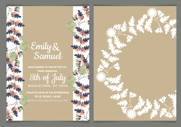 Vector Colorul Branches Wedding Invite - vector #443877 gratis