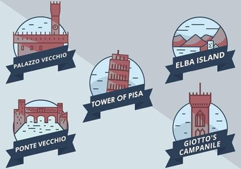 Icon Vector of Interesting Places at Tuscany - бесплатный vector #443897