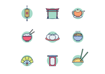 East Asian Culture Icons - vector gratuit #443917