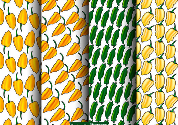 Vector Set Of Seamless Habanero Peppers Patterns - бесплатный vector #444027