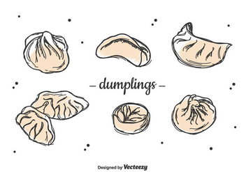 Hand Drawn Dumplings Set - Free vector #444057