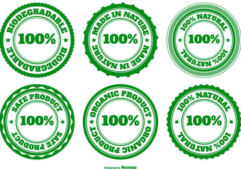 Eco, Natural and Biodegradable Badge Collection - Free vector #444087