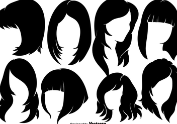 Beautiful Woman With Hairstyles Silhouettes - Vector elements - Free vector #444217