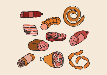 Charcuterie Meats Doodles - Free vector #444267
