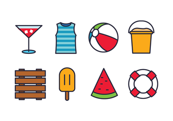 Beach Icon Set - Free vector #444277