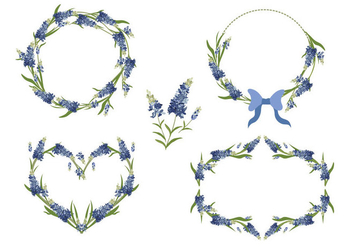 Bluebonnet Flower Frame Vector Collection - Free vector #444287