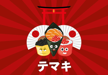 Temaki Cartoon Free Vector - vector gratuit #444347