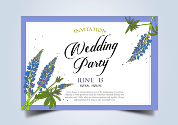 Bluebonnet Flower Frame Wedding Invitation Template Vector - vector gratuit #444357