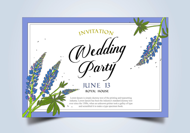 Bluebonnet Flower Frame Wedding Invitation Template Vector - Kostenloses vector #444357