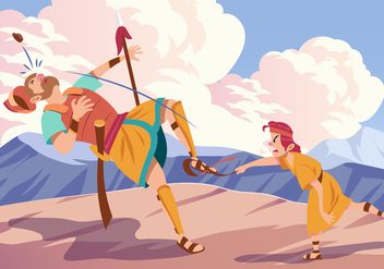 David And Goliath Fighting - vector gratuit #444377