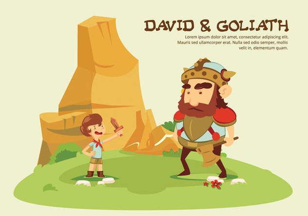 David And Goliath Story Cartoon Vector Illustration - Kostenloses vector #444387