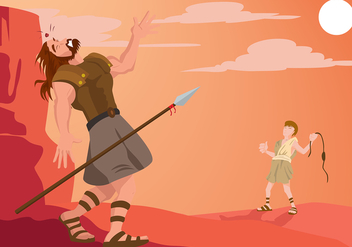 David And Goliath Illustration Free Vector - бесплатный vector #444397