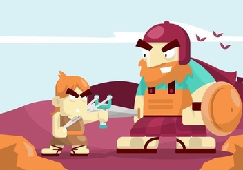 David and Goliath Illustration - Free vector #444407