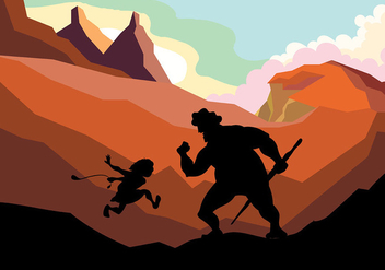 David and Goliath Vector Background - бесплатный vector #444417
