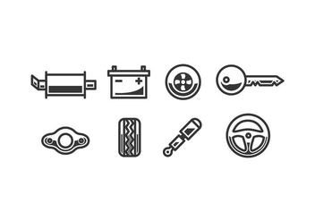 Car accessory vector icons - vector gratuit #444477