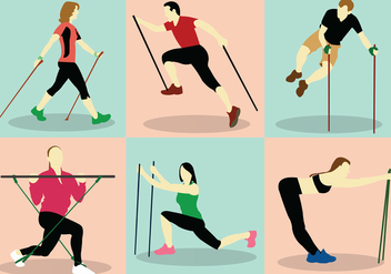 Nordic Walking Vector Pack - vector #444657 gratis