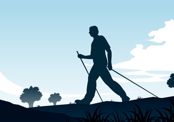 Nordic Walking Silhouette Free Vector - Free vector #444687