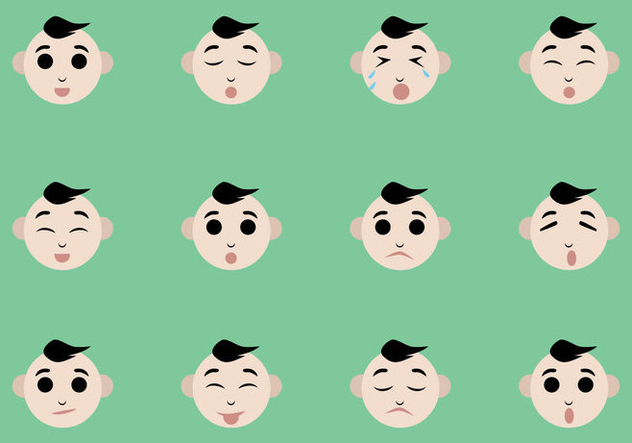 Baby Facial Expression Vectors - бесплатный vector #444697