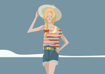 Hipster Girl With Plait and Hat Vector - бесплатный vector #444737
