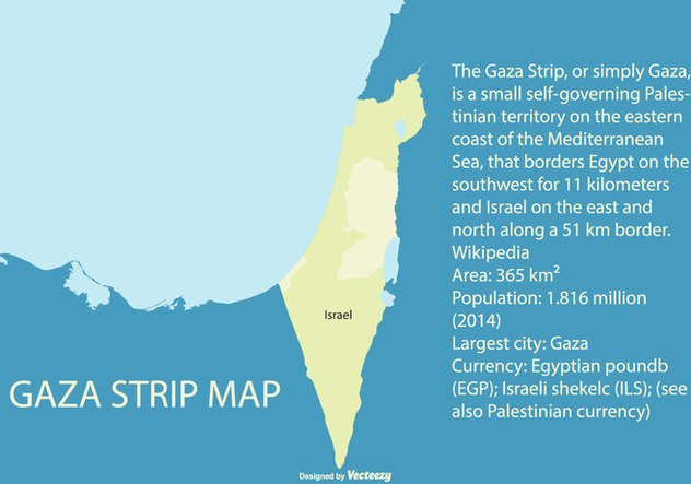 Map of Palestine Highliting the Gaza Strip - Free vector #444827