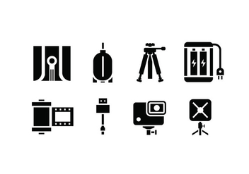 Camera and accessory icons - vector gratuit #444977