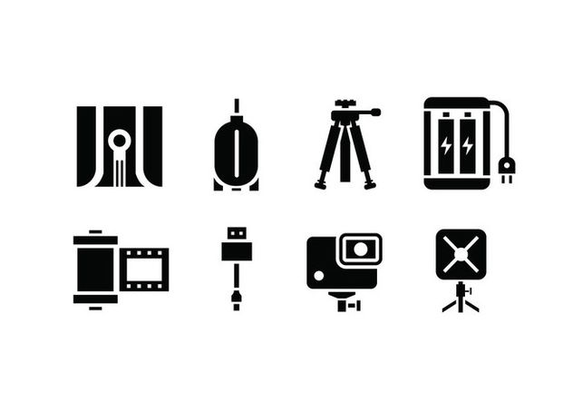 Camera and accessory icons - Free vector #444977