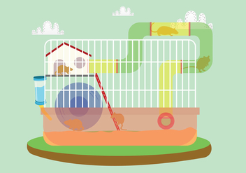 Gerbil in The Cage Vector Art - бесплатный vector #445007
