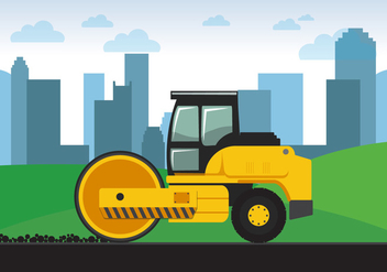 Yellow Road Roller - vector gratuit #445097