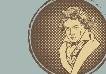 Beethoven Illustration Vector Background - бесплатный vector #445167