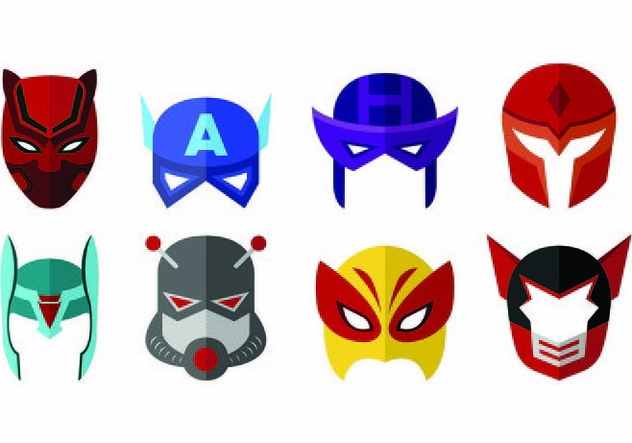 Vector Of Super Hero Masks - бесплатный vector #445197