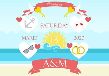 Free Beach Wedding Background Invitation - бесплатный vector #445417