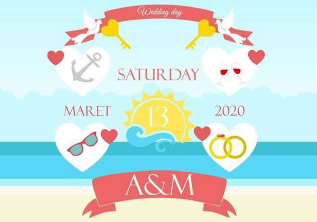 Free Beach Wedding Background Invitation - Free vector #445417