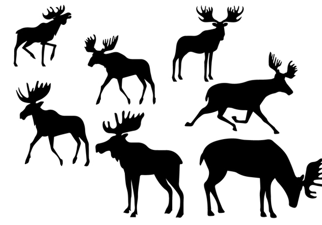 Silhouette Caribou Set - Kostenloses vector #445437