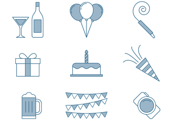 Birthday Icons Thin Line Set - Free vector #445507