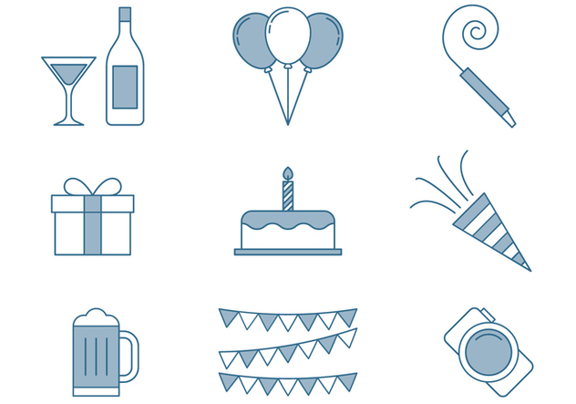 Birthday Icons Thin Line Set - vector gratuit #445507
