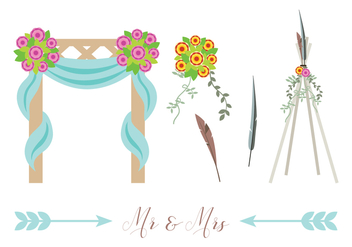Boho Beach Wedding Vectors - Free vector #445607