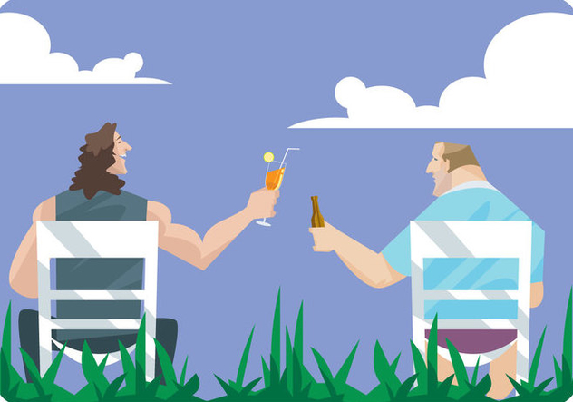 Two Men Toast Each Other in Lawn Chairs Vector - бесплатный vector #445687