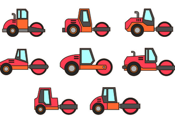 Set Of Steamroller Icons - vector gratuit #445767