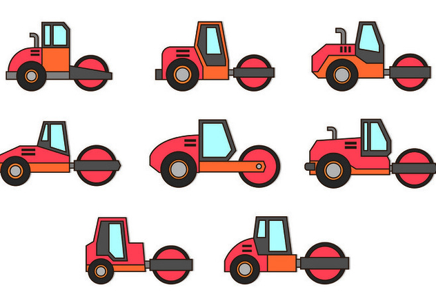 Set Of Steamroller Icons - vector #445767 gratis