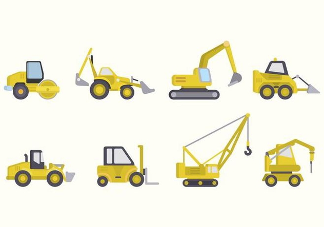 Flat Constructions Machine Vectors - vector #445887 gratis